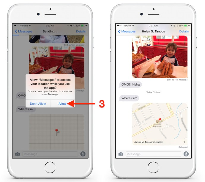 send location iPhone messages