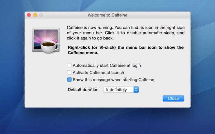 caffeine app preferences