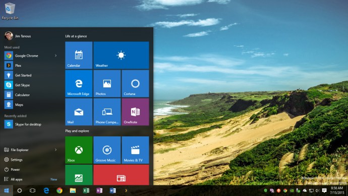 windows 10 transparency start menu taskbar