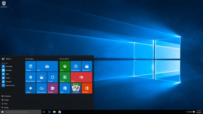 windows 10 start menu desktop