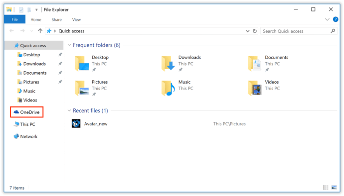 one drive file explorer windows 10