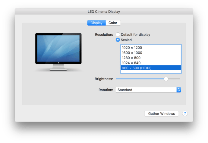 hidpi os x display preferences