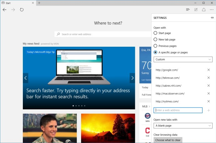 microsoft edge multiple start pages