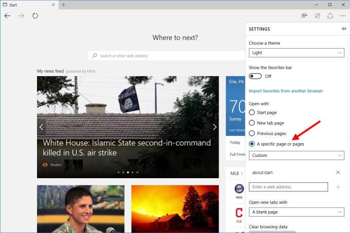 microsoft edge open with specific page