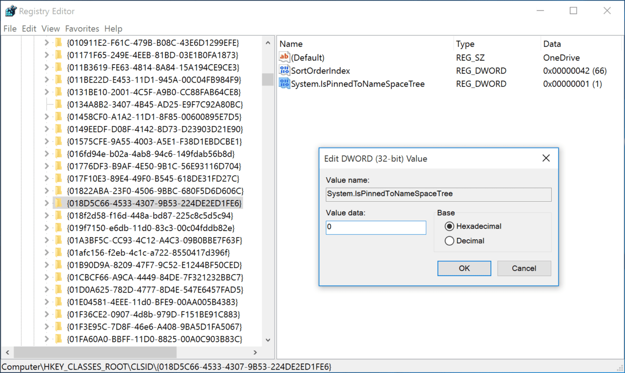 Remove onedrive from the file explorer sidebar in windows 10