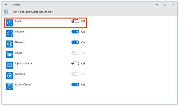 turn off clock windows 10 taskbar