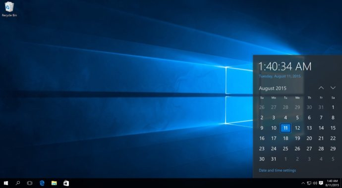 windows 10 taskbar clock and date