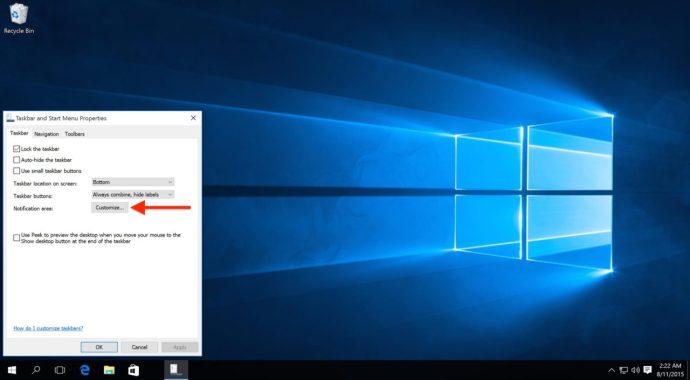 windows customize notification area