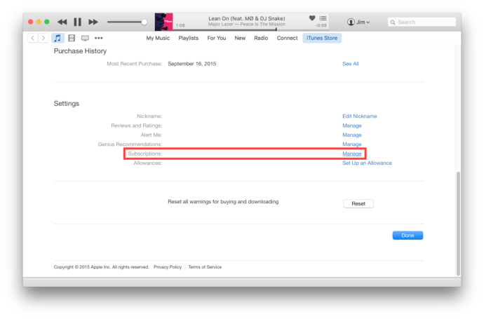 itunes account info subscriptions