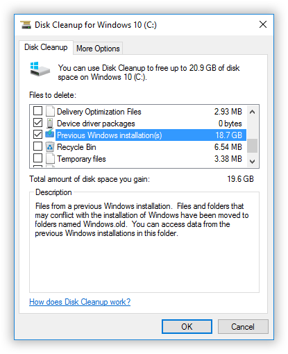 delete previous windows installations disk cleanup