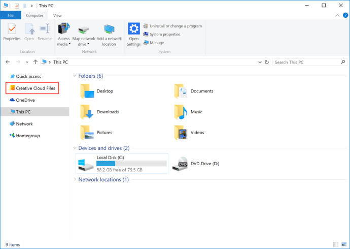 creative cloud files file explorer sidebar