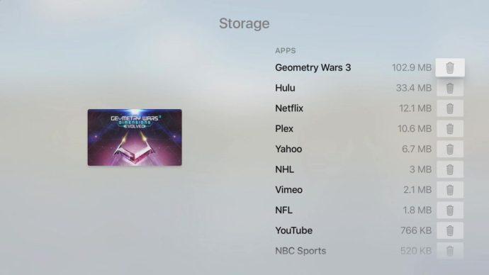 apple tv manage storage
