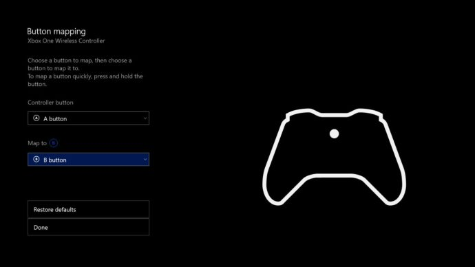 xbox one button mapping