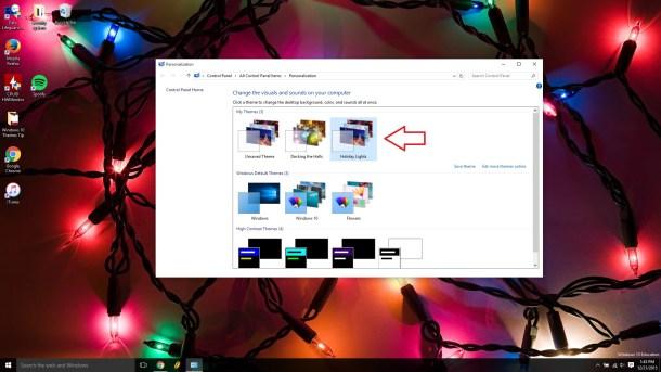 Windows 10 themes holiday lights