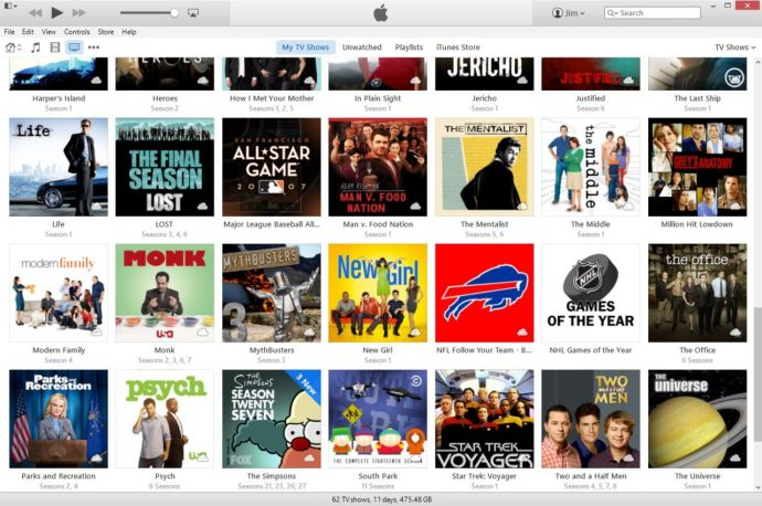 itunes library tv shows