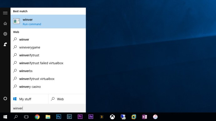 windows build number winver search