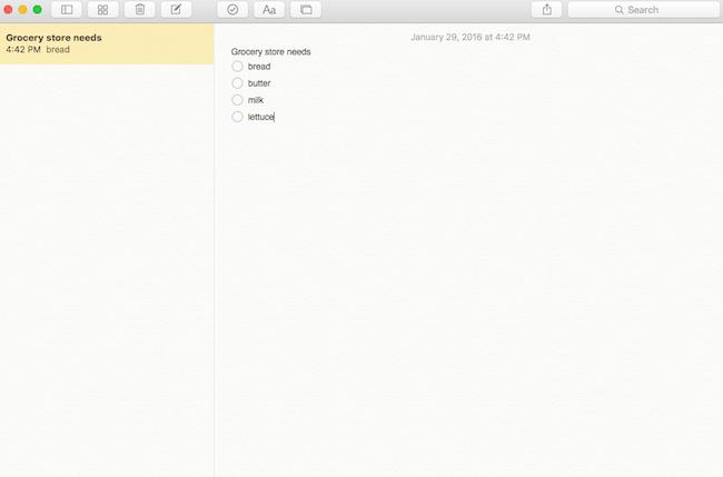 Notes checklist in OS X
