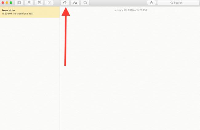 checklist button in Notes