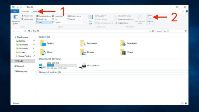 windows 10 file explorer options