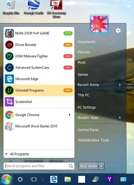 Start menu2