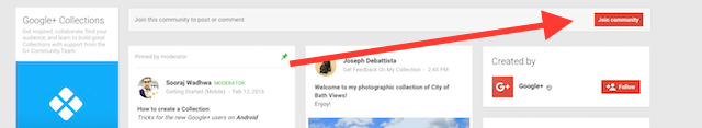 click join community in Google+