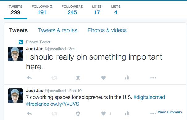 newly pinned tweet