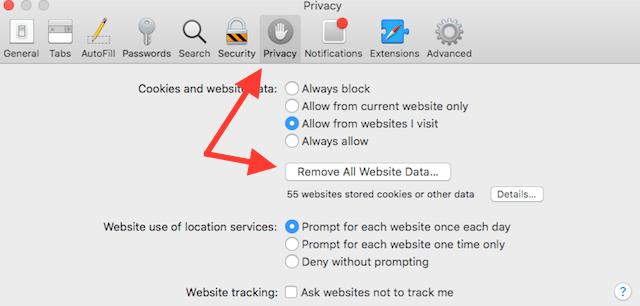 remove cookies from Safari in OS X