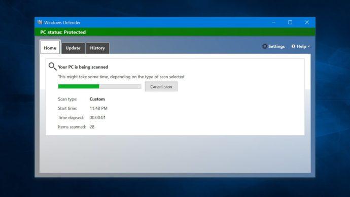 skanna med Windows Defender