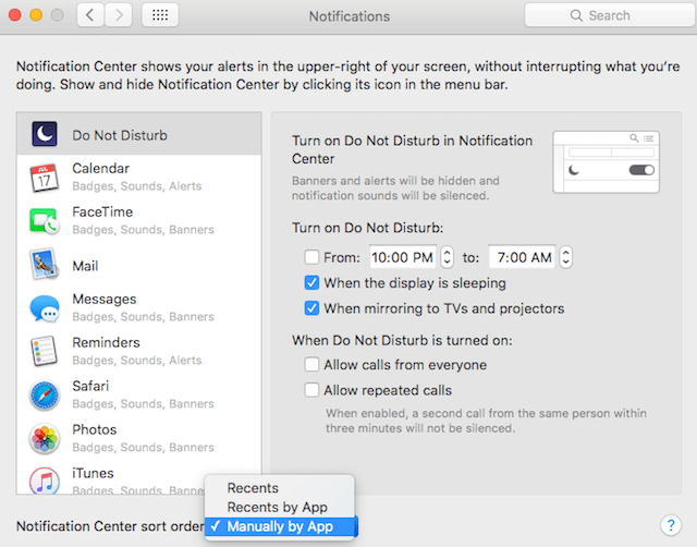 choices in Notification Center