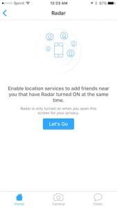 enable Radar in Shots app