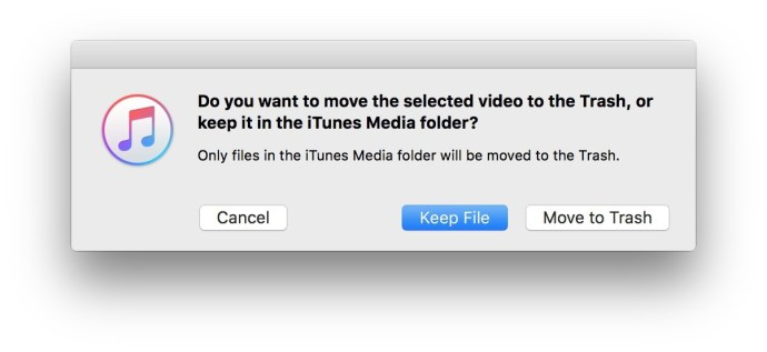 itunes delete keep file