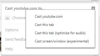 Click Google cast arrow