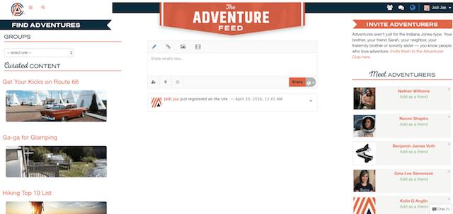 The adventurer club dashboard