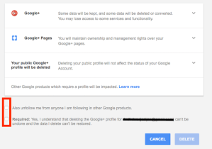 check these boxes to delete Google+ account