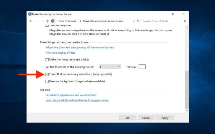 inaktivera Windows 10-animationer