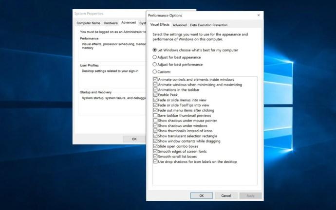 inaktivera Windows 10-animationer anpassade