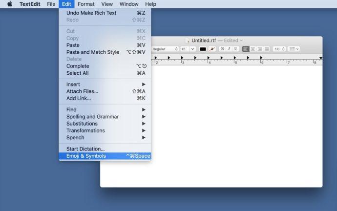 emojis and symbols menu bar mac os x
