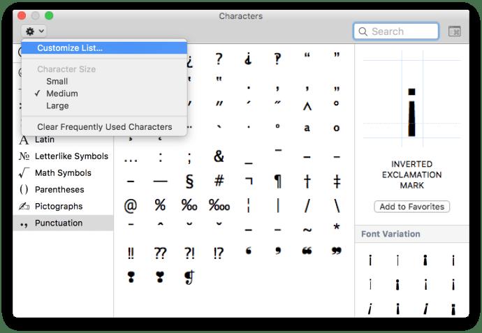 emojis and symbols customize list