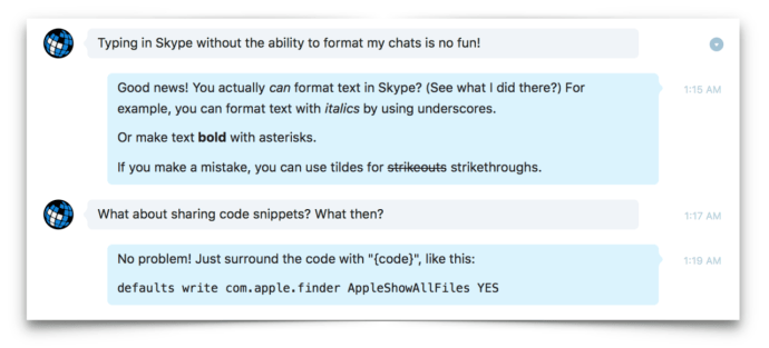 skype text formatting