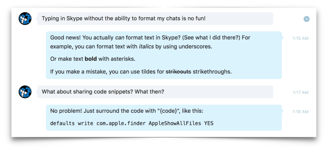 How to Format Skype Text Chats