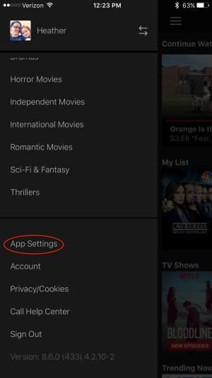 Netflix mobile App settings