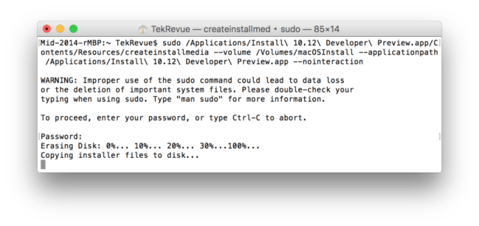 How to Create a macOS Sierra USB Installer for the Developer Preview