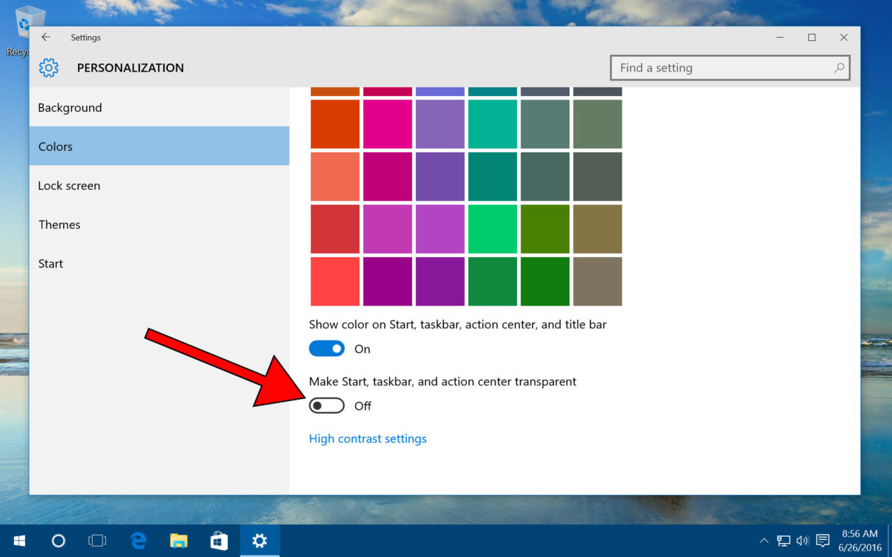 How to Enable or Disable Windows 10 Transparency Effects
