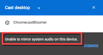 Chromecast no audio