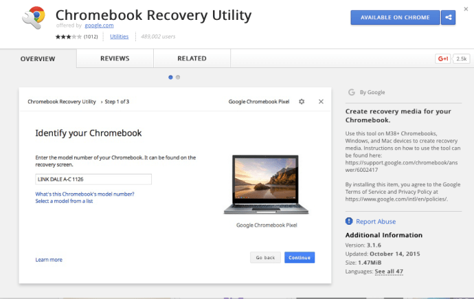 Chromebook Recovery Util