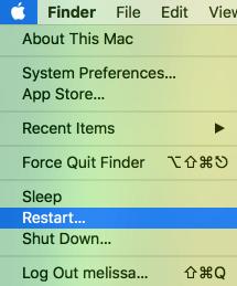 Restart from Apple Menu