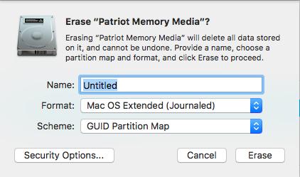 USB Erase Settings