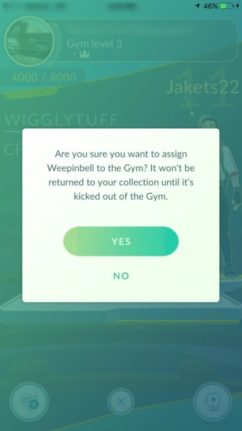 Add this Pokemon to gym