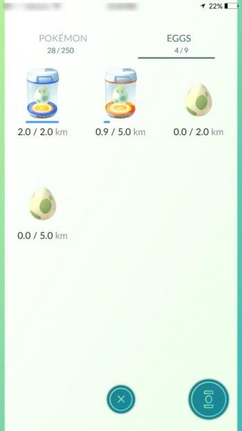 incubated Pokemon Go