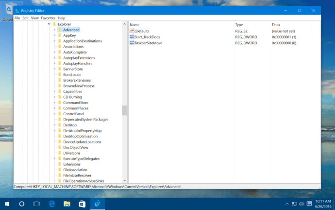 windows 10 taskbar registry